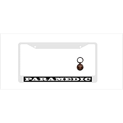 Real Fish Paramedic License Plate Frames Metal Chrome Frame & Key Chain Funny Humor Gift (Paramedic): Automotive