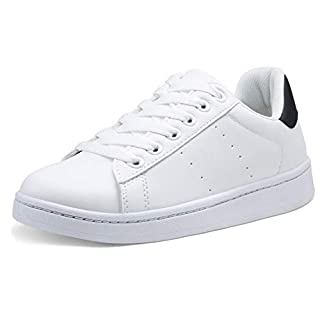 VEPOSE Women's Sneakers Fashion Casual Classic Lace up Lightweight Dress White with Black Sneakers for Women(8.5,Dress Sneakers-602-White Black)