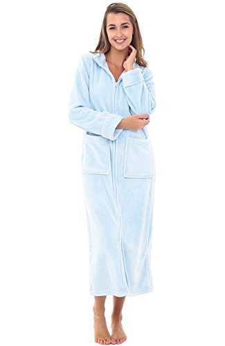 Alexander Del Rossa Womens Fleece Robe, Zip-Front Bathrobe, 2X Light Blue (A0307LBL2X) ()