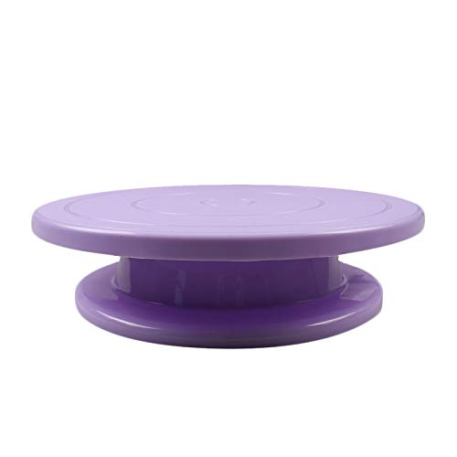 Cake Decorating Turntable - Plastic Revolving Cake Stand, Baking Cake Decorating Supplies for Kitchen Hotel Restaurant Coffee Shop (purple)