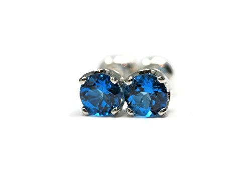 Kashmir Blue Topaz Handmade Argentium Silver 5mm Stud Earrings with Swarovski Gemstones (Kashmir Stone)