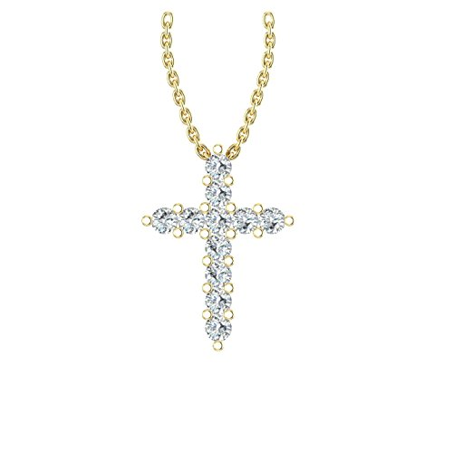 Gold Unisex Diamond Cross - 14k Yellow Gold delicate cross pendant set with 11 glistening round natural white diamonds (0.08 ct t.w, H-I Color, I1 Clarity), hanging on a 18