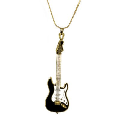 Harmony Jewelry Fender Stratocaster Necklace - Gold and Black - Electric Guitar Necklace Jewelry