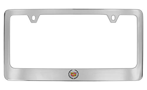 Cadillac Logo Chrome Plated Brass Metal License Plate Frame Holder Wide Bottom Engraved 2 Hole