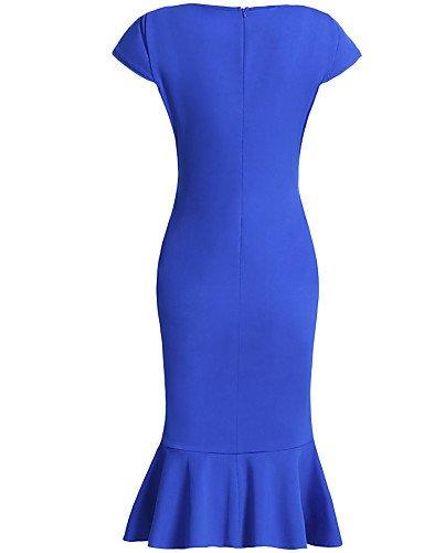 PU&PU Robe Aux femmes Moulante Sexy / Soirée / Travail / Décontracté / Plage , Couleur Pleine Col Arrondi MidiAcrylique / Polyester / Mélanges , blue-xl , blue-xl