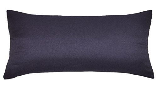 Aiking Home Breathable Solid Faux Linen Lumbar Throw Pillow Case for Sofa, Bedroom or Car. (12x24, Navy)