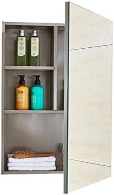 バスルーム ミラーキャビネット、 壁掛け式 ステンレス鋼 収納キャビネット フレームレスミラー付き、 シングルドア