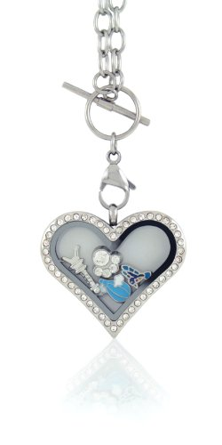 Heart Toggle Large (BG247 Floating Locket Necklace with Choice of 6 Charms and Matching Chain (Rhinestone Large Heart) by)