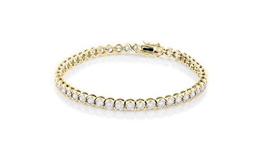 Cate & Chloe Joelle 18k Tennis Bracelet, Women's 18k Yellow Gold Plated Tennis Bracelet w/Cubic Zirconia Crystals, 7.5