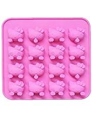 MICHAELA BLAKE Silikonowa forma do ciasta 'Hello Kitty' nieprzywierająca silikonowa forma do czekolady z 16 wnękami mydelniczka różowa do produkcji czekolady ciasta galaretkowatego musu kopułowego
