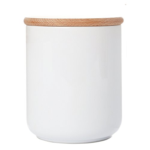 (White Ceramic Kitchen Canister Container with Airtight Wood Lid Food Storage Jar Sugar Container Salt and Pepper Storage Containers Candy Jar Spices and Tea Jar Coffee Canister,23.7 Floz)