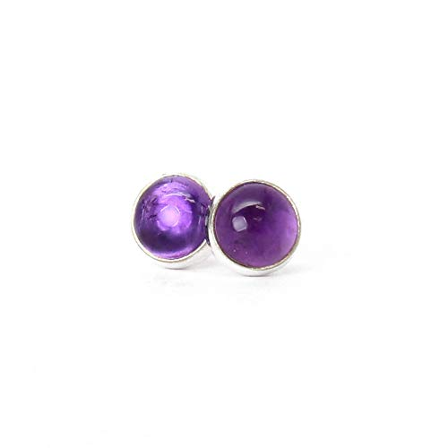 Amethyst Stud Earrings 6mm Sterling Silver