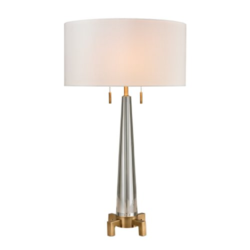 - Dimond Lighting D2682 Bedford Crystal Column Table Lamp with Footed Base, Clear, Aged Brass