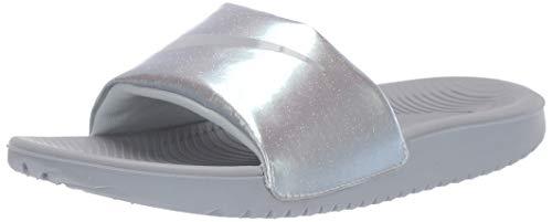 Nike Boys Kawa Slide (GS/PS) Sandal, Wolf Grey-Metallic Platinum, 4Y Regular US Little Kid (Kids Nike Golf Shoes)