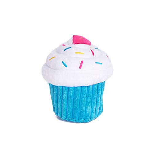 ZippyPaws - Cupcake Stuffed Plush Dog Toy with Two Squeakers - Blue