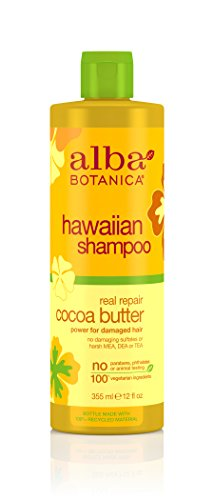 Alba Botanica Hawaiian Hair Care Cocoa Butter Real Repair Shampoo, 12 Fluid Ounce - Hawaiian Cocoa Butter