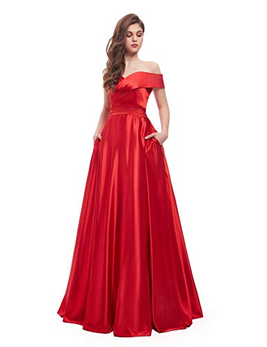 (BEAUTBRIDE Women's Off Shoulder Long Prom Dress Evening Gown with Pocket Red 6)