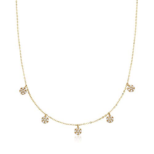 Ross-Simons Italian .30 ct. t.w. CZ Cluster Drop Station Necklace in 14kt Yellow Gold