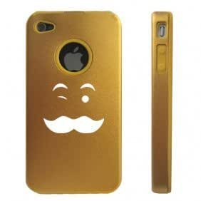 Apple iPhone 4 4S Gold D5827 Aluminum & Silicone Case Cover Wink Mustache Face