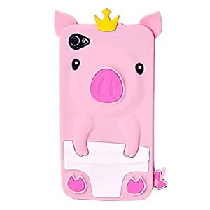 hao Crown Soft Rubber Silicone Skin Case Cover For Iphone 4/4S 4G 3D Cute Pig