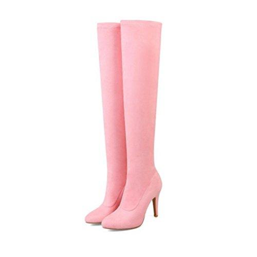 Da Caramelle Color Donne Tacco Alto Col QPYC Che Quadri Spillo Tacchi Grandi A Puntano Stivali Flessibili Pink Flessioni Alti Donna Per AZxTn6q