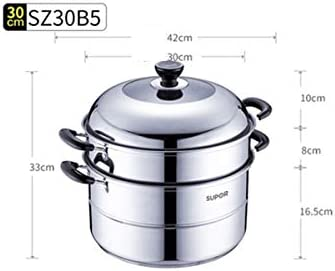 HTBG 304ステンレス鋼スチーマー2層30/32センチメートル大きなダブル太い家庭用ガスコンロ (Color : Silver, Size : 30cm)