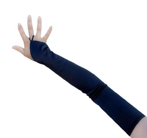 SACASUSA (TM) 19 inch Long Fingerless Satin Gloves in Navy Blue (Lady In The Navy Gloves)