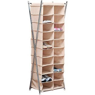 Beautifully Structured Cream Silver X Frame Canvas 20 Pocket Shoe Storage  Unit Self-Assembly