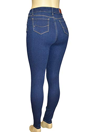 LnLClothing Junior's High Rise Skinny Solid Color Pants, Denim3126, 5 by LnLClothing (Image #1)