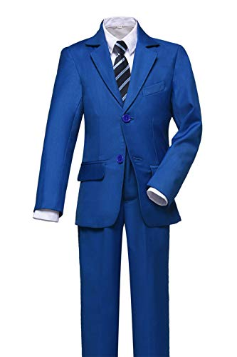 Visaccy Boys Suits Slim Fit Dress Clothes Ring Bearer Outfit Royal Blue Size ()