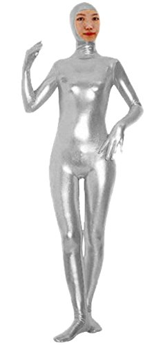 [VSVO Shiny Spandex Open Face Full Bodysuit Zentai Suit for Adults and Children (Small, Silver)] (White Morphsuit)