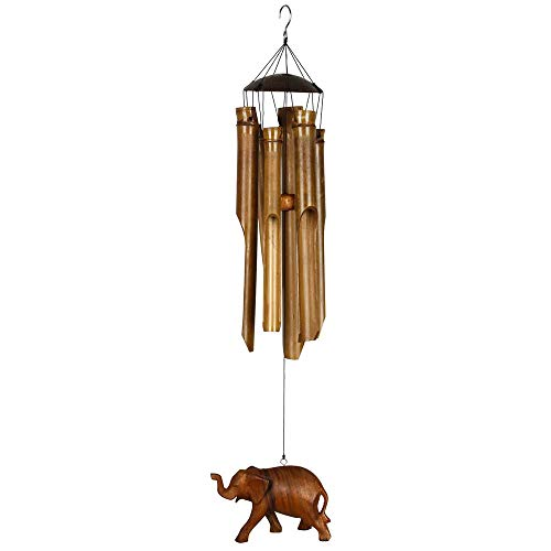 Woodstock Half Coconut Bamboo Medium Chime with Elephant Cele 24 Inch New