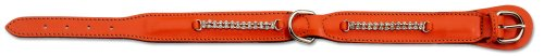 Petego La Cinopelca Padded Soft Calfskin Dog Collar with Crystals, Orange, 5/8 Inches, Fits 9 Inches to 11 Inches
