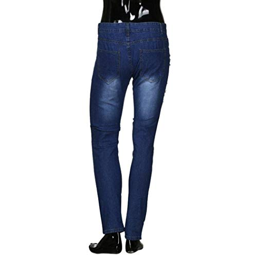 Slim Uomo Lunghi Moda Rip Fit Pants Skinny Distressed Cartoon Jeans Ricamo Fitness Sottile Denim Pantaloni Dunkelblau Sport Fibbia Biker Frayed A0RAw