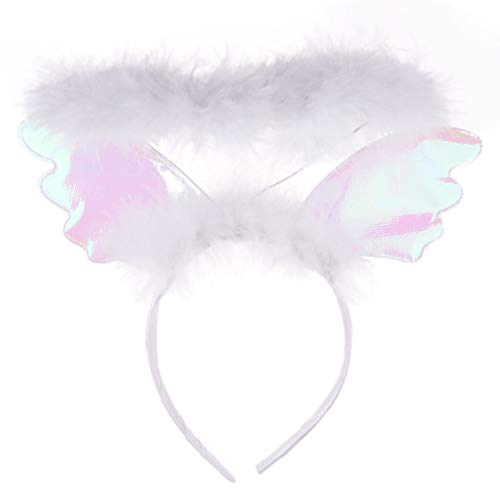 Freebily Angel Feathered Headband Adorable Hair Hoops Headdress Performance Props for Cosplay Costume Party White One Size -