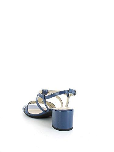 Sandalo in vernice blu con pietre e mezzo tacco N. 37