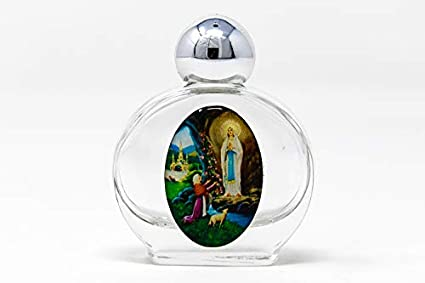 Botella de agua bendita rellena de agua de Lourdes