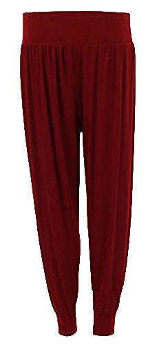 Da 12 Donna Harem Piena Pantaloni 26 Lunghezza Taglie Forti Wine Casual Elasticizzato Pantaloni Formati Donna fwxnr7aqf