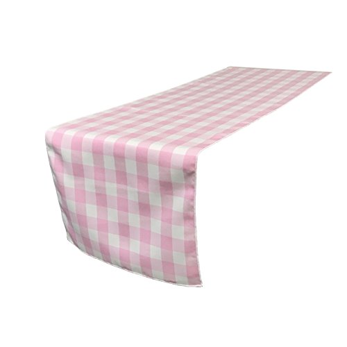 LA Linen Checkered Gingham Table Runner 14 by 108-Inch/Pack of 1 / White and Light Pink ()