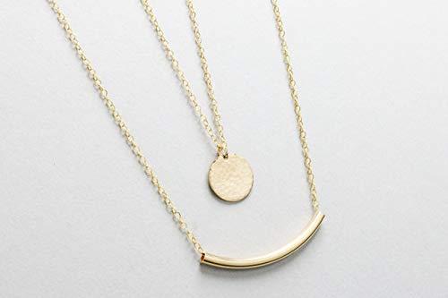 Minimal Necklace Set, Large Disc Necklace & Bar Necklace, Layering Necklace, 14k Gold Fill Layering Set