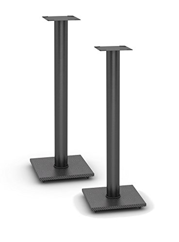 Atlantic Adjustable Speaker Stands 2-Pack - Steel Construction, Pedestal Style & wire Management for Bookshelf Speakers up to 20 lbs PN77335799 inBlack