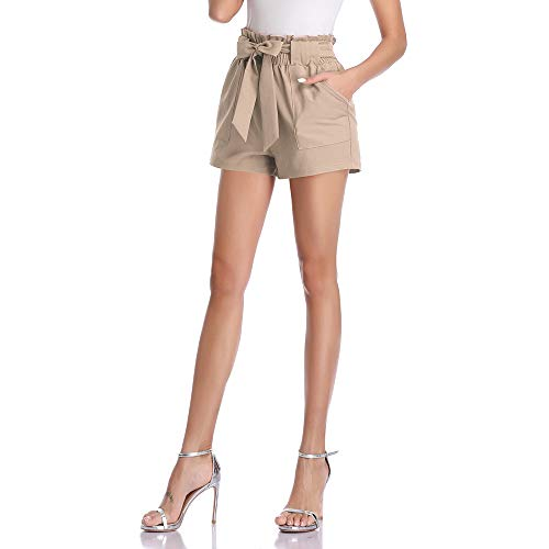 Freeprance Paper Bag Shorts for Women high Waisted Casual Shorts Elastic Waist Front Pockets -