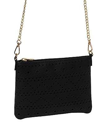 Black Punchout Peta Crossbody Bag