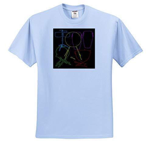 Alexis Design - Musical Instruments - Colorful Silhouette Images of Musical Instruments Drums on Black - T-Shirts - Light Blue Infant Lap-Shoulder Tee (24M) - Percussion 77