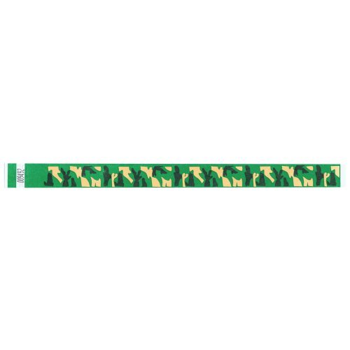 Tyvek Wristbands - 3/4 Inch - Camouflage Printed Patterns- Outdoor Events - Abstract Designs- Kelly Green - 500 Pieces per Box by Precision Dynamics