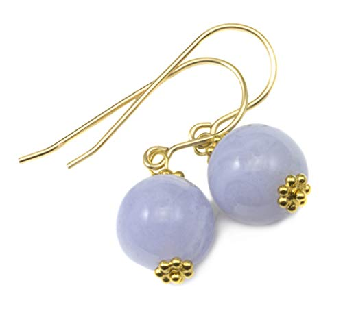 - 14k Yellow Gold Filled Lace Blue Agate Earrings Smooth Round Simple Dainty Beaded Goldtone Accents