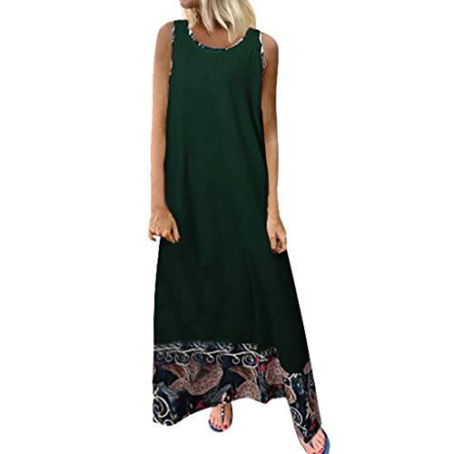 - Linen Cotton Soft Loose Dress Spring Summer Sleeveless Plus Size Holiday Maxi Dresses Green