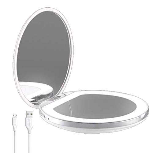 Flybiz Espejo de maquillaje de viaje, Espejo de Bolsillo Compacto Iluminado LED para Maquillaje, luz diurna, compacto, portatil, 1X/3X de Mano Portatil Doble Cara Iluminacion Natural Plegable
