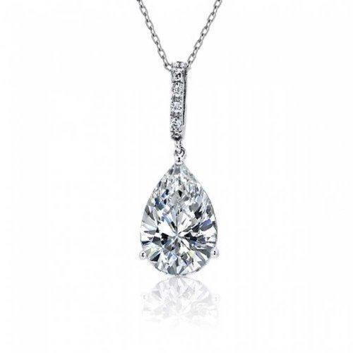 4 CTW Teardrop Shape Solitaire Cubic Zirconia CZ Prong Set Bridal Pendant Necklace For Women Prom 925 Sterling Silver