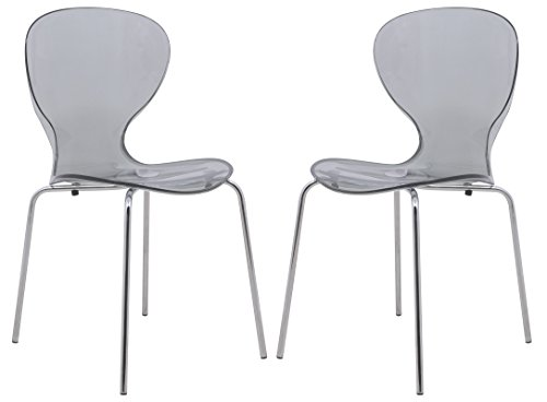 LeisureMod Carson Mid-Century Dining Side Chairs, Set of 2 (Black)